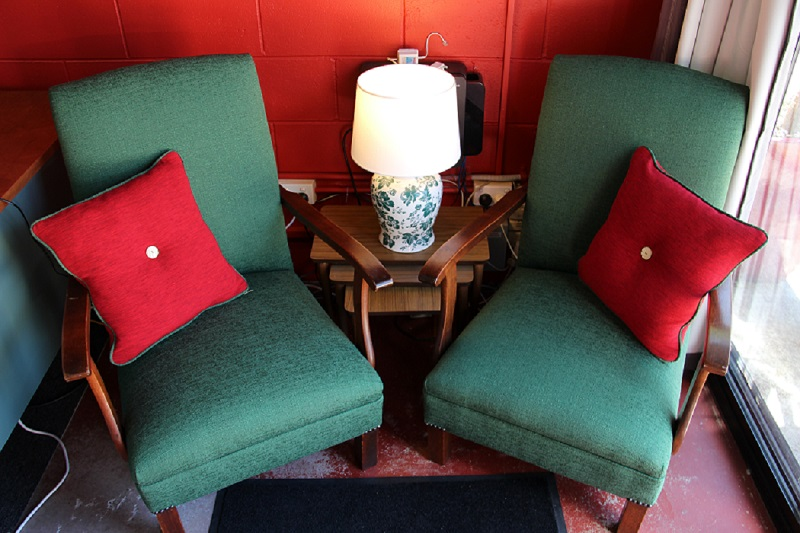 Web blog rockers finished off with handmade cushions in clients foyer